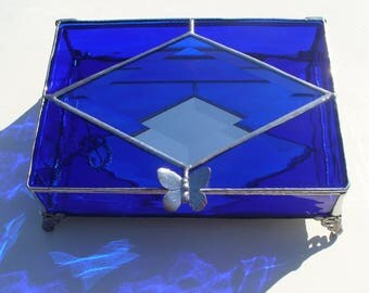 Large Cobalt Blue Stained Glass Jewelry Box with Bevel and Handle of your Choice