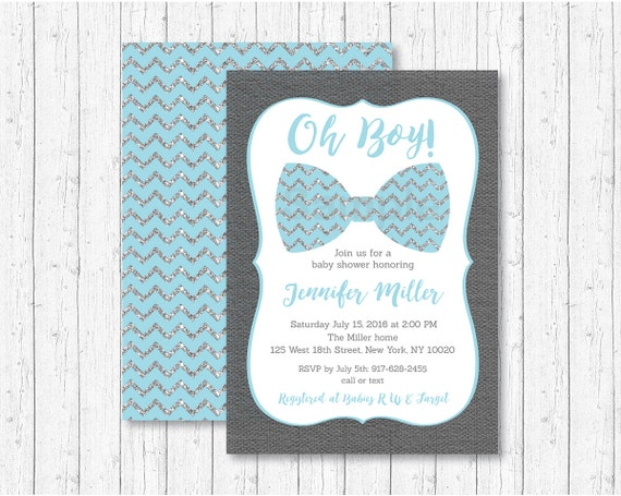 Cute Bow Tie Baby Shower Invitation Bow Tie Baby Shower Invite