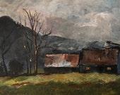 Acrylic Painting 3x4.5 Mountain Cabin Homestead Winter Mountain Scene