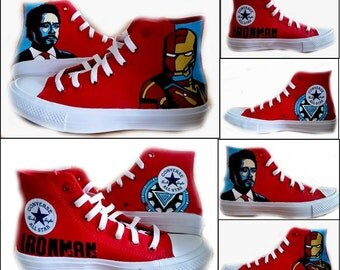 Iron Man, Converse, Custom Painted Sneakers, Avengers, Comics, Red Hi Tops, Sneakers, Geek, Wedding, Graduation,  Shoes Included