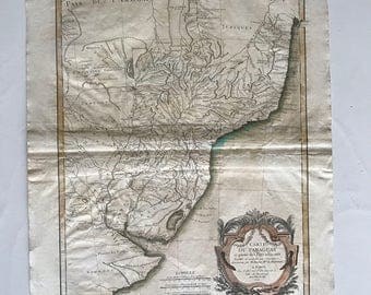 Phenomenal 1771 Map of Paraguay in French