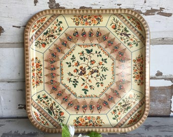 Vintage Daher Tin Tray Lovely Bird and Branch English Square