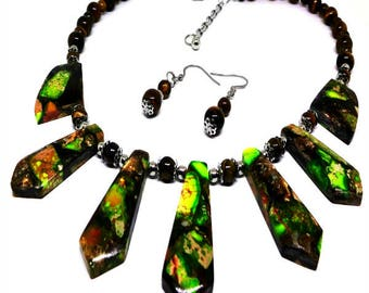 Womens Necklace Set-Includes Earrings-Sea Sediment Pyrite Jasper-Stainless Steel & Tigers Eye Beads, Adjustable Length- Unique Gift for Mom!