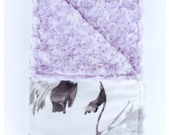 WILLOW /  baby blanket, new satin print with minky swirls / Gray big flowers on white background, gorgeous baby shower gift