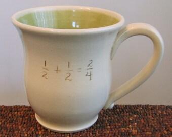 Funny Mug, Incorrect Math Mug, Gag Gift, Large Coffee Mug Teacher Gift 18 oz Pottery Back To School, Graduation, Hand Thrown Stoneware