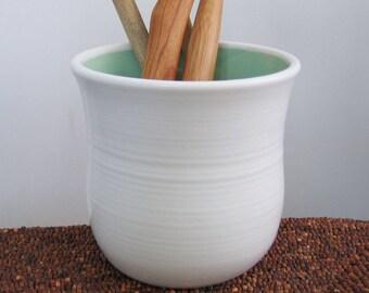 Utensil Crock, Ceramic Utensil Holder, Hand Thrown Stoneware Pottery Utensil Caddy in White and Mint Green, Chef Gift