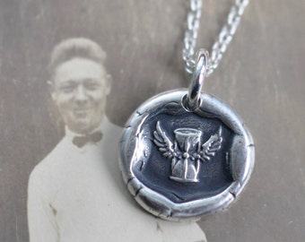 winged hourglass wax seal necklace - hourglass with wings crest pendant - wings of time - flight of time - antique wax seal jewelry