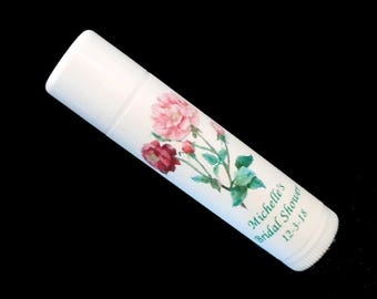 Lip Balm - Bridal Shower Favors - Lip Balm Favors - Personalized Lip Balm - Vanilla Lip Balm - Pink Flowers