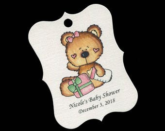 Baby Shower Favor Tags - Baby Girl - Personalized Tags - Bear - Cookie Tags - Candy Tags - Thank You Tags