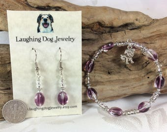 Purple Glass Bracelet and Earrings Set with Puppy Charm