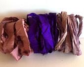 Silk Sari Ribbon, Mauve, Purple, Pink/Lavender Recycled Sari Ribbon, 10 Yards