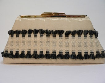 Modern Clutch Small Tan with Black and Gray Fringe