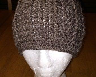 Crocheted Brown Beanie