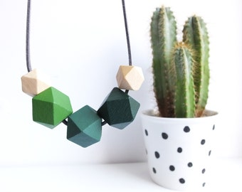 Hexagon Necklace, Geometric Necklace, Green Wooden Jewellery, Panatone Greenery 2017, Gift For Her, Quirky Necklace, Colourblock Jewellery