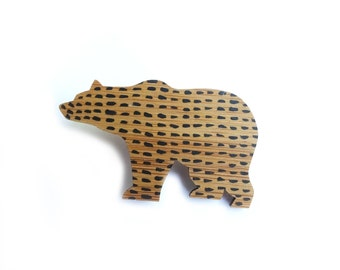 Bear Brooch, Grizzly Bear, Wooden Brooch Pin. Wooden Brooches, Wooden Brooch, Bear Jewellery, Mothers Day Gifts