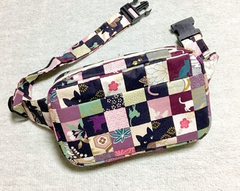 Body Bag / Waist Pouch / Hip Bag  / Fanny Pack --- Kimono Cat - Pink