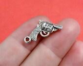 50 Bulk, Gun Handgun Charms (3D) 12x24x4mm, Hole: Approx 1.5mm