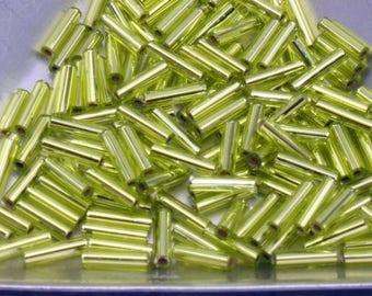 Bugle beads, 6mm Miyuki silver lined chartreuse, #014,  10 grams, bagged