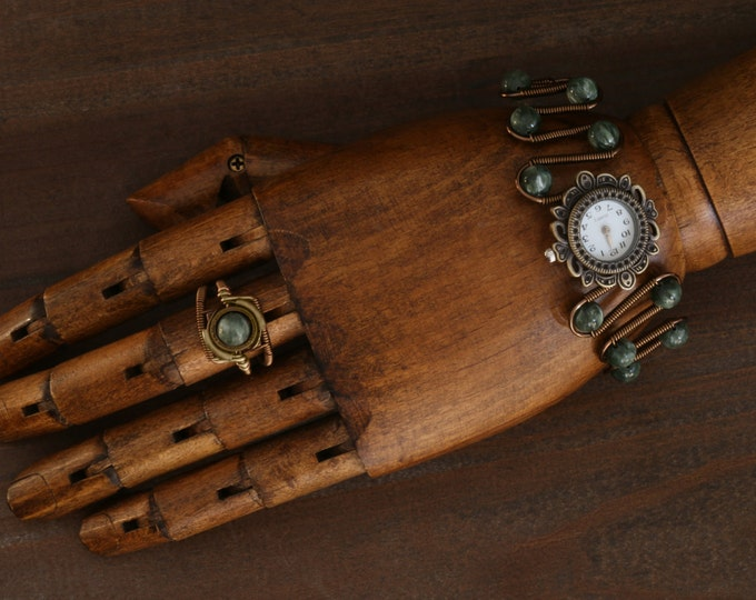 NEW Steampunk Ring and Watch bracelet with green seraphinite, Antique brass,Jewelry