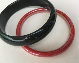 Black and Red Glass Bangles