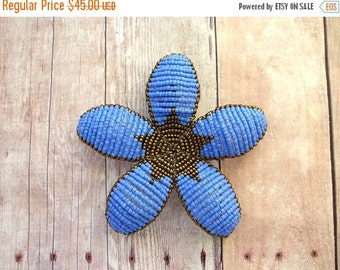 INVENTORY CLEARANCE Floral Hair Clip or Brooch Pin - Periwinkle Blue and Bronze Art Deco Style Beaded Flower - Ododo Originals Bridal