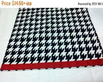 ON SALE NOW Houndstooth Table Linens- with red band- Houndstooth Table Runners, or Napkins, or Placemats,  Black and white,  Alabama,  Runne