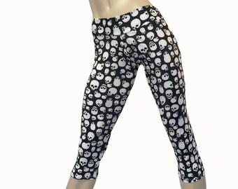Yoga Pants - Workout Clothes - Hot Yoga -TIghts - Fitness - Skull Capri - Skull Pants - Low Rise - Capri - SXY Fitness - Handmade - USA -