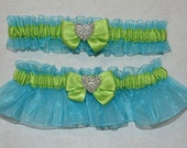 Turquoise Blue & Lime Green Wedding Garter Set, big bow Heart Rhinestone - Any size