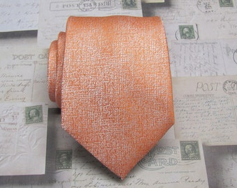 Mens Tie. Orange and Ivory Mens Necktie with Matching Pocket Square Option