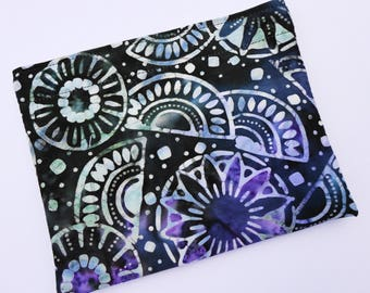Reusable Snack Bag - Single Bag in Blue, Purple Batik