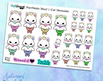 Ash Evans Purrmaids Cat Mermaid Planner Stickers