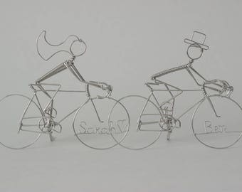 Bicycle Wedding Cake Topper Cyclists PERSONALIZED with Bride & Groom's Names