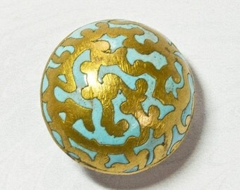 NOW  ON SALE Edwardian Turquoise Brass Button; Cloisonné Enamel, High Domed, Antique Circa 1890 -1910