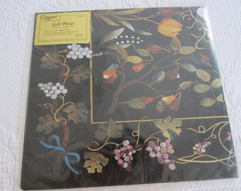 Elegant UNUSED Vintage CASPARI Gift Wrapping Paper Made in Denmark 2 Sheets Lily of the Valley Grape Vines Tulips Black Background