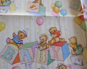 "Unused Vintage 1983 Hallmark BABY Gift Wrapping Paper 1 Sheet 20 x 30"" Shower Blocks Teddy Bears Balloons Yellow Orange Green Purple"