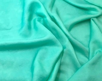 Hand Dyed SPEARMINT GREEN Silk and Cotton Blend Sateen Fabric - 1 Yard