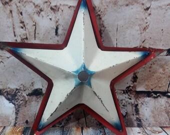 VTG Metal Red White Blue Star Christmas Tree Topper 3D Halo Light Cover American