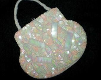 Vintage 30s Sequins Beads Wrist Purse Dance Bag Belgium