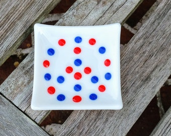 Peace Sign Glass Dish - Spoon Rest - Jewelry Holder - Ring Dish - USA - America - Red, White and Blue