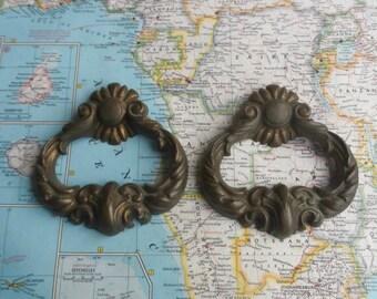 SALE! 2 large vintage ornate brass metal handles
