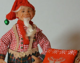 Santas helper/Christmas elf Tomten with his goat and sleigh - a ooak 12th scale christmas miniature doll scene by CWPoppets