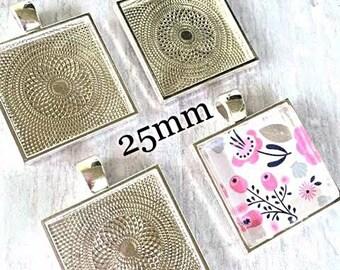 50  Square Pendant Trays Bezels 1 inch  Silver  25 mm STURDY Settings Glass Tile Pendants