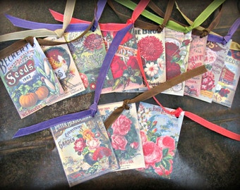Antique Seed Catalog Hang Tags Set of 12 (#1) FREE SHIPPING Gardening Herbs