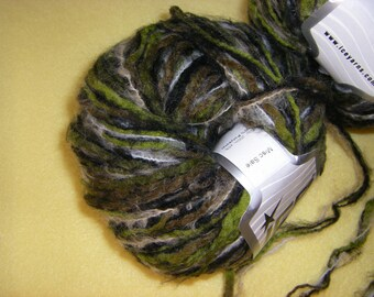Two Skeins Multi-strand Fuzzy Sasquatch Yarn by Ice Yarns, premium multistrand novelty yarn, green brown black variegated