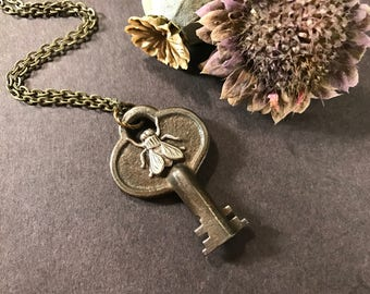 Key Necklace, Skeleton Key, Fly Necklace, Insect Jewelry, Gothic, Creepy, Silver Fly, Bold Key, Recycled, Upcycled Necklace, Rustic Key