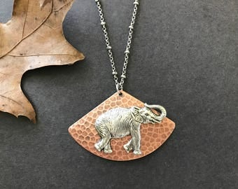 Elephant Necklace, Statement Necklace, Silver Elephant, Copper Triangle, Hammered Triangle, Animal Necklace, Zoo Animal, Jungle Animal