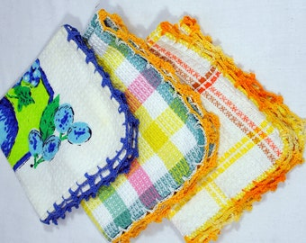 Group of 3 Waffle Weave Dishcloths with Crocheted Edges -