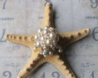 ON SALE Vintage Pearl Earring Bejeweled Starfish, Beach Wedding Table Decor, Inspirational Bridal Gift, Beach Cottage Coastal Style