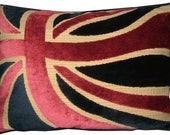 Union Jack Cut Velvet Blue British Flag Tapestry Cushion Pillow Cover