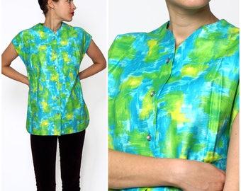 Vintage 1960s Blue & Green Watercolor Sleeveless Summer Top by Graff | Medium